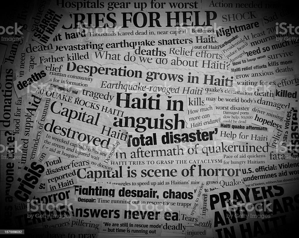 Haiti Earthquake Headlines Collage stock photo