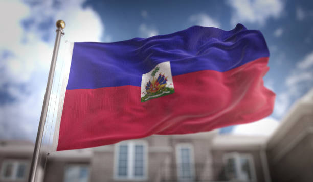 Haiti Flag 3D Rendering on Blue Sky Building Background Haiti Flag 3D Rendering on Blue Sky Building Background Haiti Flag stock pictures, royalty-free photos & images