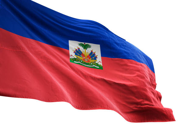Haiti flag close-up waving isolated white background Haiti flag close-up waving isolated white background realistic 3d illustration Haiti Flag stock pictures, royalty-free photos & images