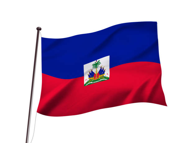 haiti flag fluttering in the wind,3D illustration stock photo