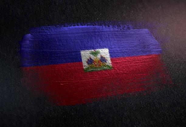 Haiti Flag Made of Metallic Brush Paint on Grunge Dark Wall Haiti Flag Made of Metallic Brush Paint on Grunge Dark Wall Haiti Flag stock pictures, royalty-free photos & images