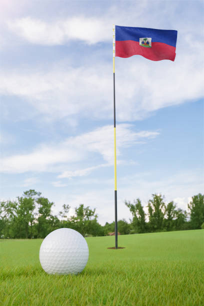 Haiti flag on golf course putting green with a ball near the hole Haiti flag on golf course putting green with a ball near the hole Haiti Flag stock pictures, royalty-free photos & images