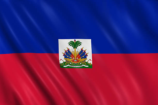 haiti flag Flag of haiti waving with highly detailed textile texture pattern Haiti Flag stock pictures, royalty-free photos & images