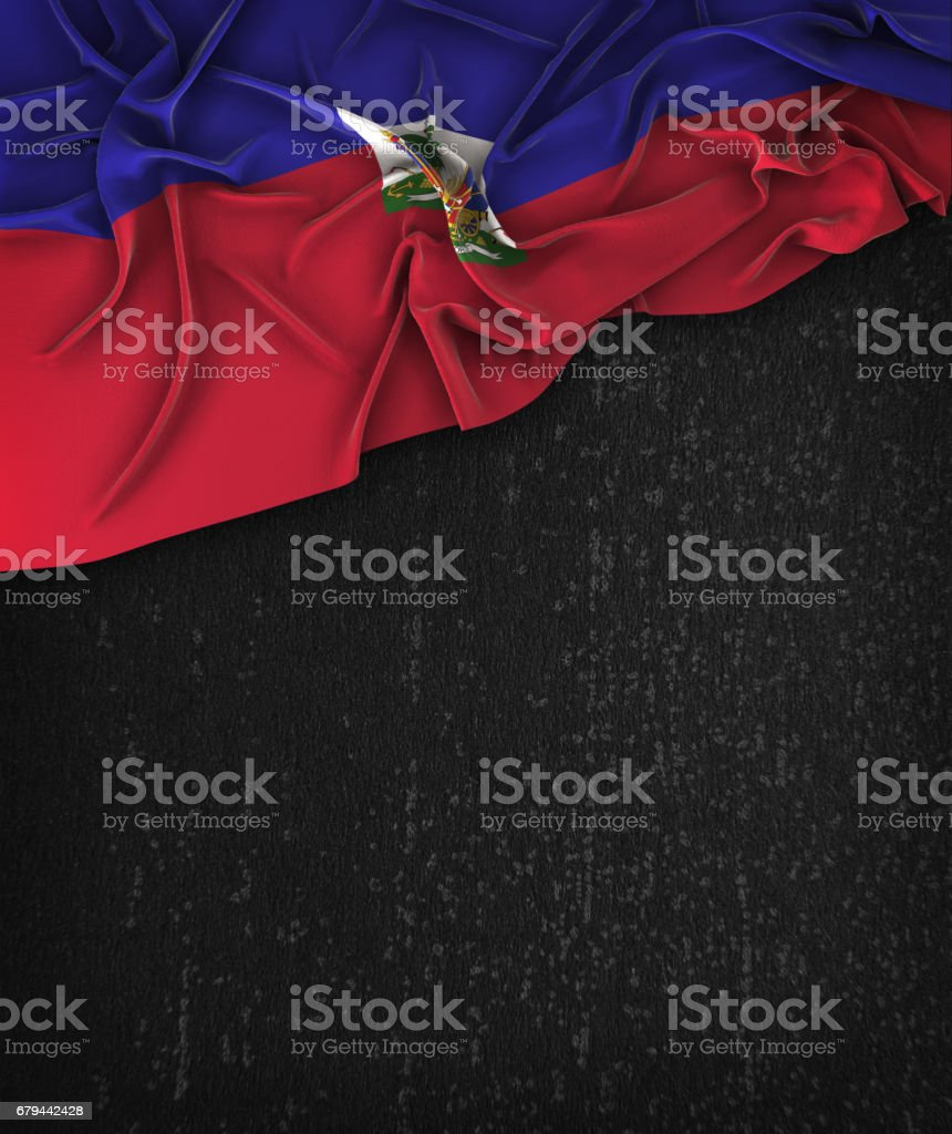 Haiti Flag Vintage on a Grunge Black Chalkboard With Space For Text stock photo