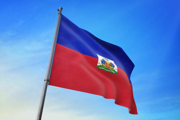 Haiti flag waving in the blue sky Haiti flag waving in the blue sky in the wind Haiti Flag stock pictures, royalty-free photos & images
