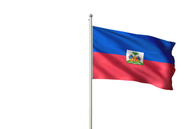Haiti flag waving isolated on white background Haiti flag on flagpole waving isolated on white background realistic 3d illustration Haiti Flag stock pictures, royalty-free photos & images