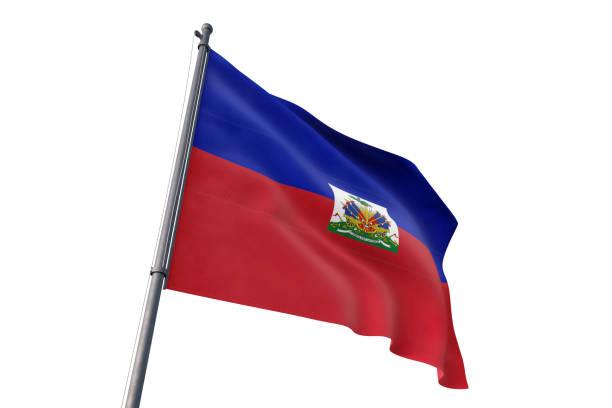 Haiti flag waving isolated white background Haiti national flag waving isolated white background Haiti Flag stock pictures, royalty-free photos & images