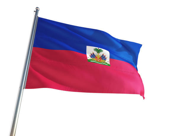 Haiti National Flag waving in the wind, isolated white background. High Definition Haiti National Flag waving in the wind, isolated white background. High Definition Haiti Flag stock pictures, royalty-free photos & images