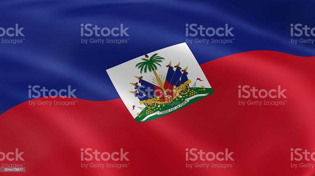 Haitian flag in the wind stock photo