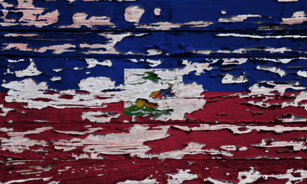 Haitian flag painted on a grunge plank Flag of Haiti painted on a grunge wooden board. Haiti Flag stock pictures, royalty-free photos & images