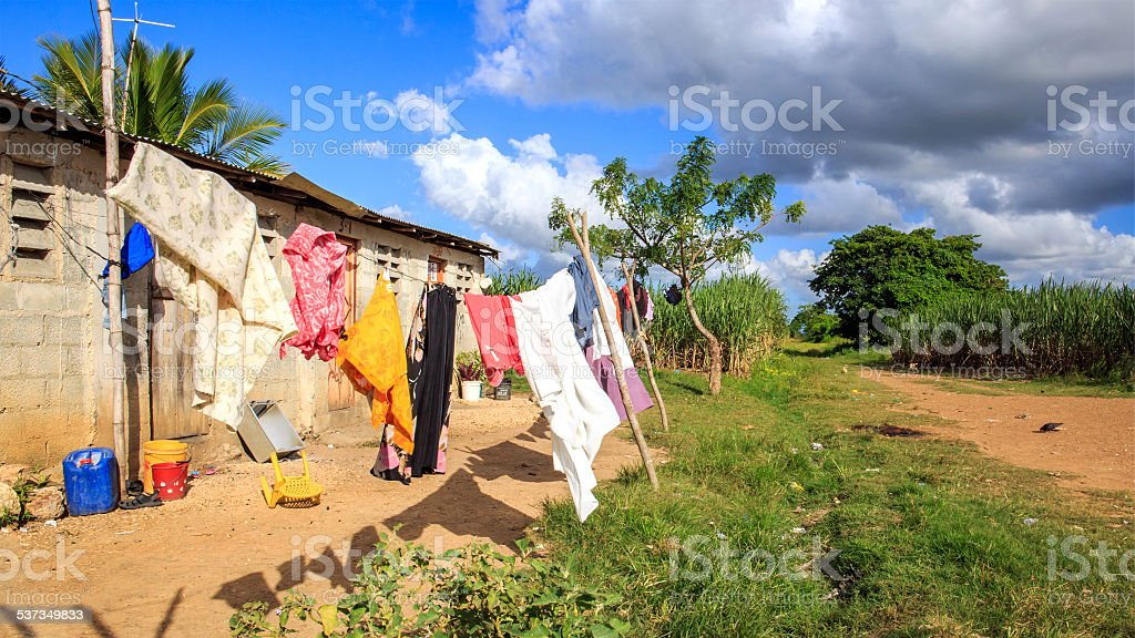 Haitian refugee camp in Dominican Republic stock photo