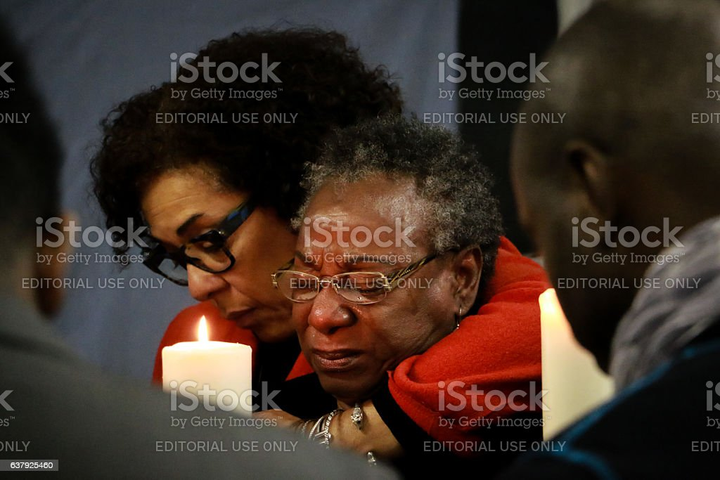 Haitians remember the victims of the 2010 Haiti earthquake stock photo