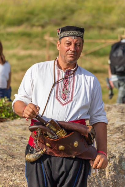 Hajduci warriors demonstration during bulgarian traditional festival stock photo