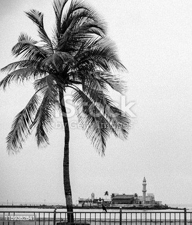 Photography, Mumbai, Islam, Faith - Black and White Image of the Famous Haji Ali Mosque in Mumbai