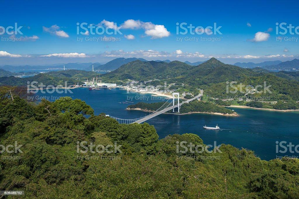 Hakata Oshima Bridges in Seto Inland Sea, Japan stock photo