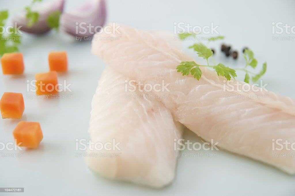 Hake fish fillets stock photo