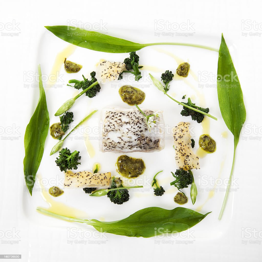 Hake with wild garlic royalty-free stock photo
