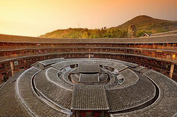Hakka Tulou traditional Chinese housing, Fujian China stock photo