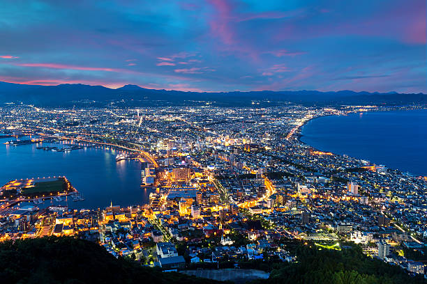 Hakodate City view from Mountain Hakodate, winter season, Hokkai stock photo