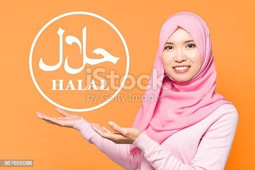 istock Halal certification concept. Sign of halal food. 957655096