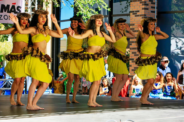 Halau Hula O Ualani Hawaiian and Polyenesian dancers at the Tucson Meet Yourself Folk Festival in Arizona stock photo