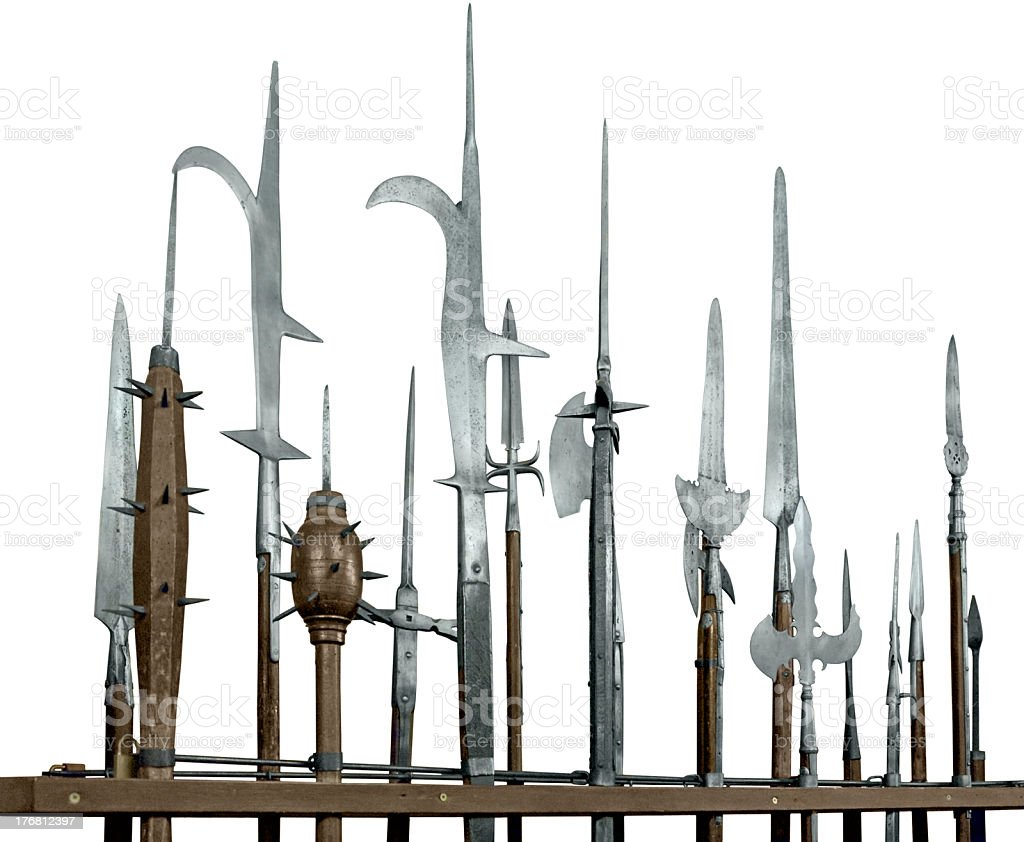 halberds in white back stock photo
