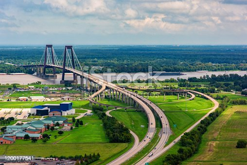 The Hale Boggs Memorial Bridge spanning the Mississippi River just north of New Orleans, Louisiana named for a former congressman out of New Orleans who disappeared in Alaska in 1972 when his small private plane never arrived at its destination.