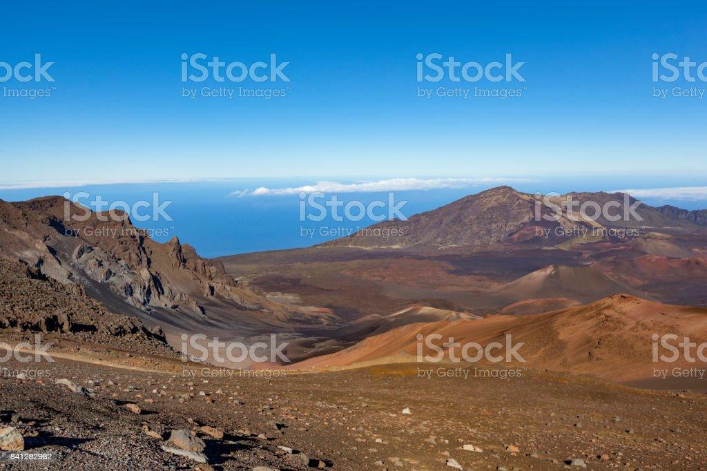 haleakala national park volcanic crater landscape maui island stock photo