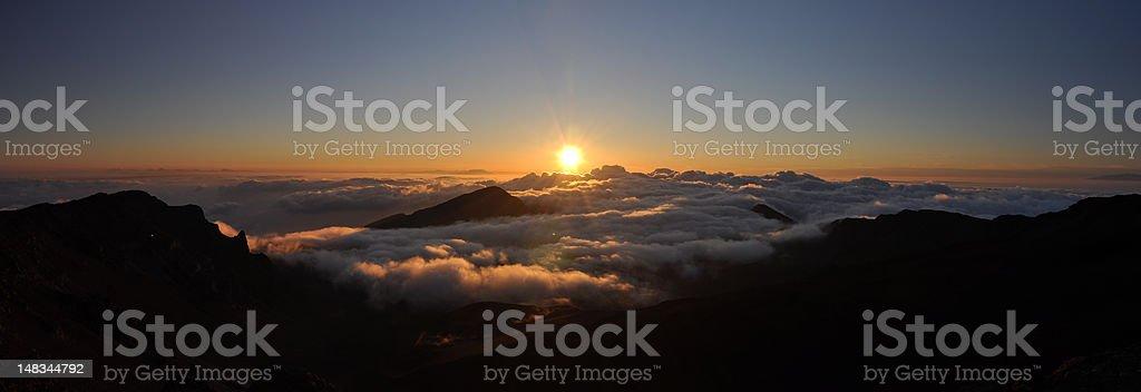 Haleakala sunrise panorama stock photo