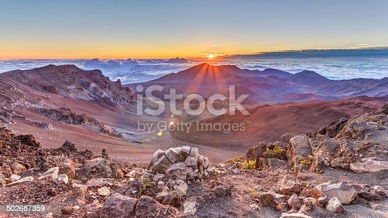 sunrise from the summit of Haleakala volcano on the tropical  island of Maui, Hawaii