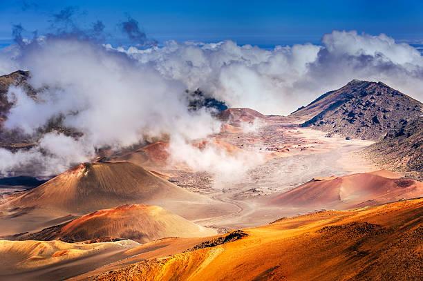 Haleakala Volcano on  Maui island in Hawaii stock photo