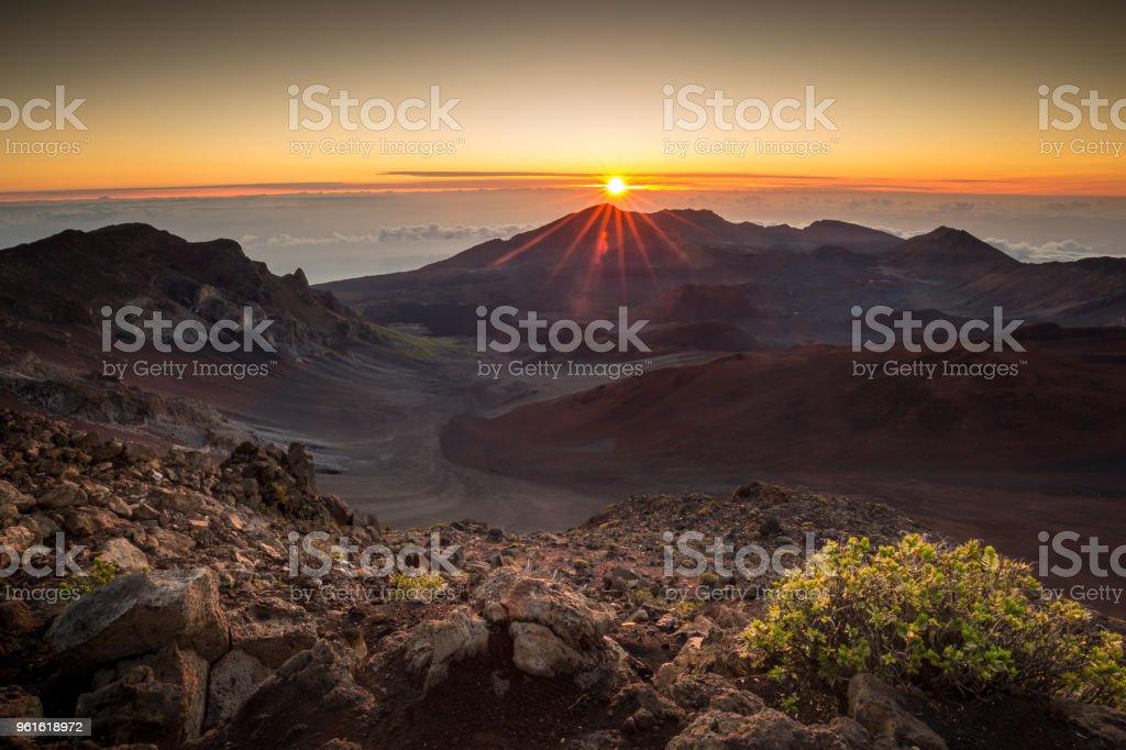 Haleakala Volcano Summit Sunrise stock photo