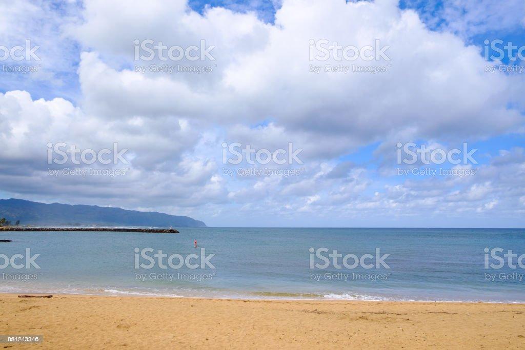 SUP Haleiwa Bay Oahu Hawaii stock photo