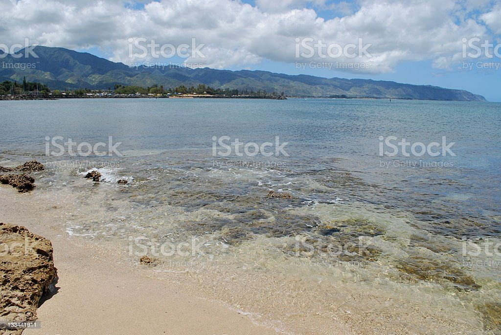 Haleiwa town beach in Oahu North Shore royalty-free stock photo
