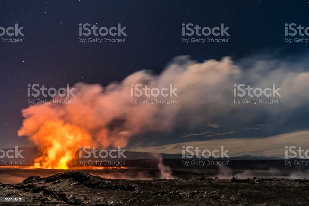 Halemaumau crater on Kilauea volcano before the eruptions stock photo