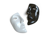 mask lies on a white surface, symbolizes a secret.