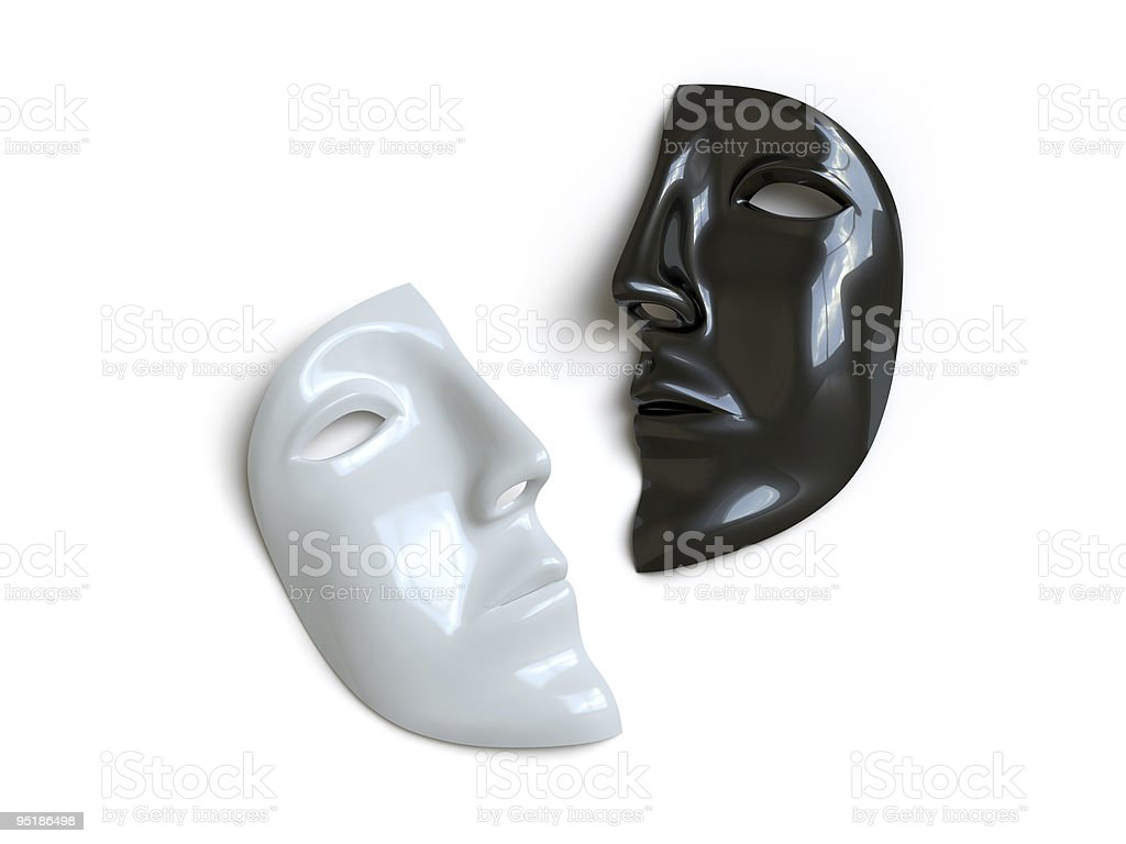 Half a grey and half a black mask stock photo