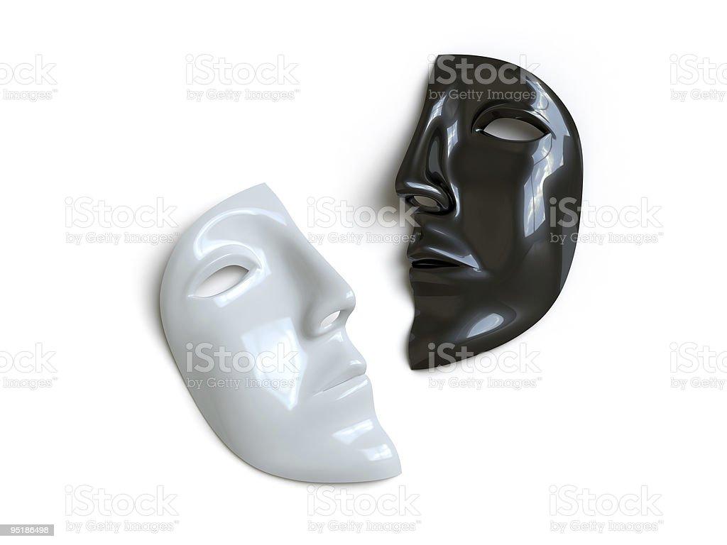 Half a grey and half a black mask stock photo