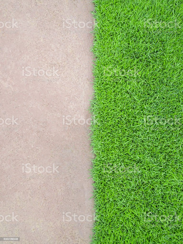 Half and Half Cement Floor and Meadow stock photo