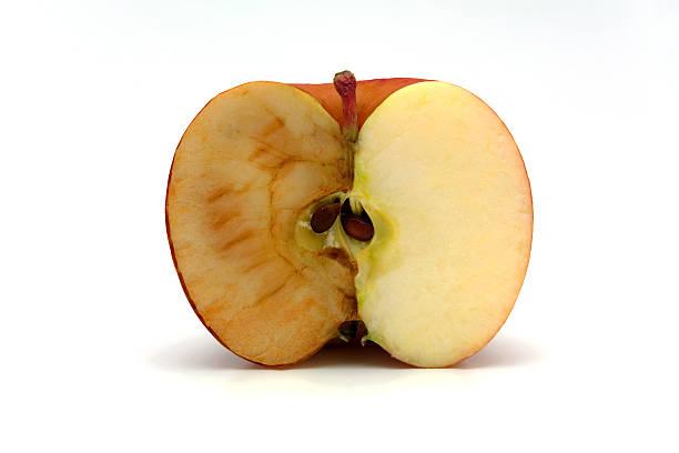 half apple - rostrot stock-fotos und bilder