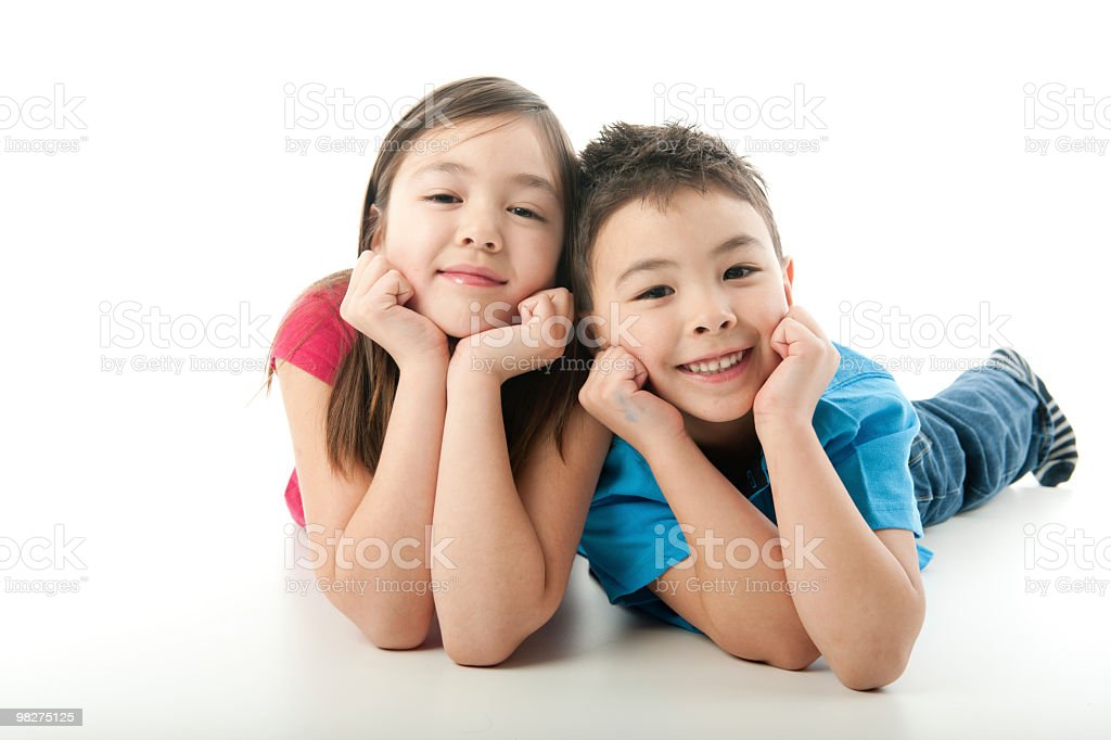 Half Asian Sibblings royalty-free stock photo