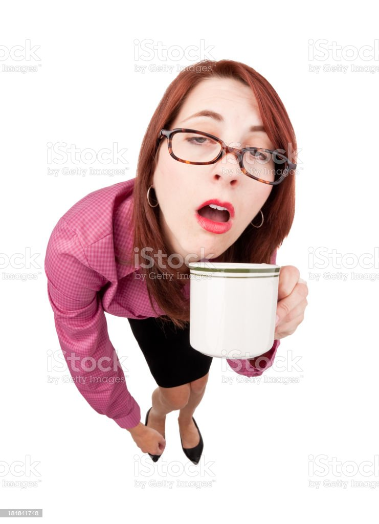 Half Asleep Woman With First Cup of Coffee royalty-free stock photo