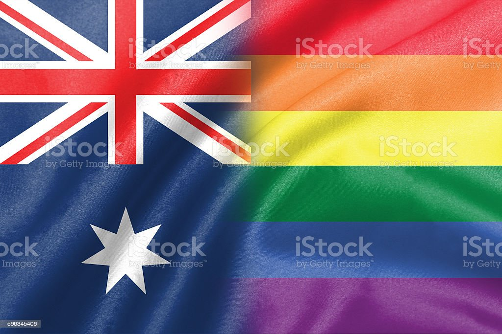 half australia half lgbt flag royalty-free stock photo