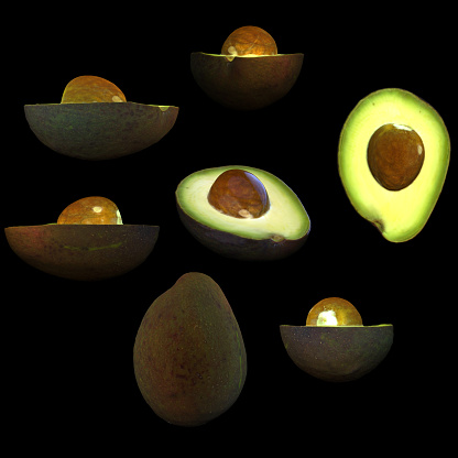 istock Half avocado fruit black background multiple angles 3d render 1149722549
