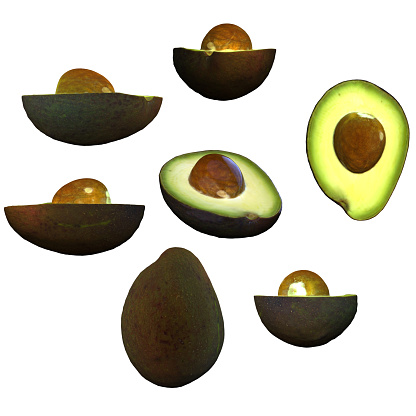 istock Half avocado fruit with seed white background multiple angles 3d render 1149722530