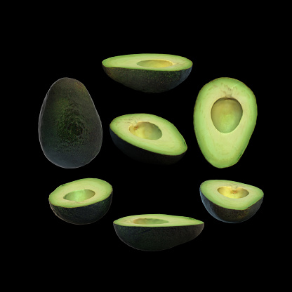 istock Half avocado fruit without seed black background multiple angles 3d render 1149722526