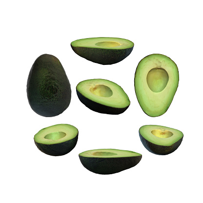 istock Half avocado fruit without seed white background multiple angles 3d render 1149722445