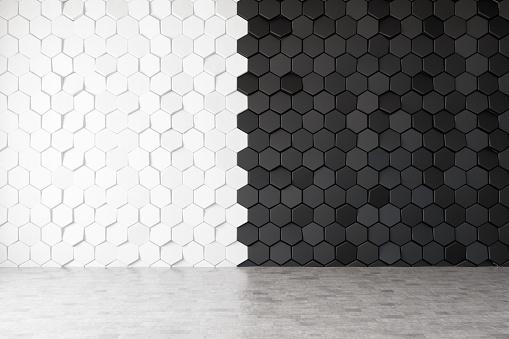 Half Black Half White Hexagon Wall Tiles. 3d Render