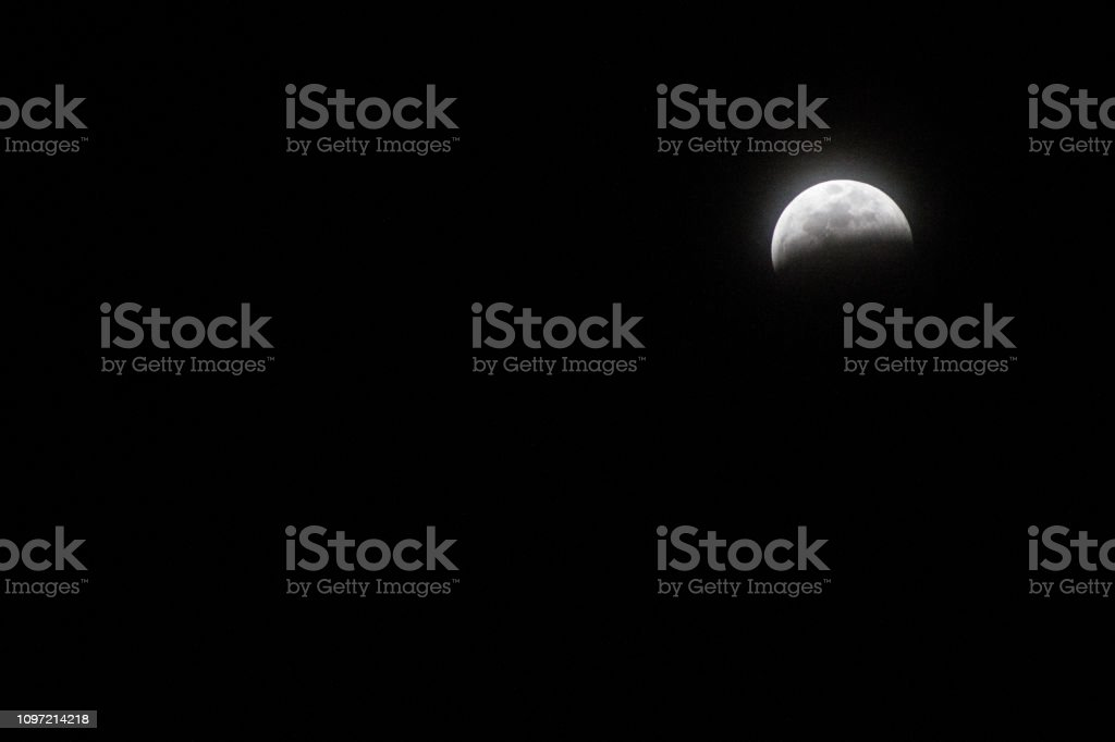 Half Blood Red Super Wolf Moon Pre-Red stock photo