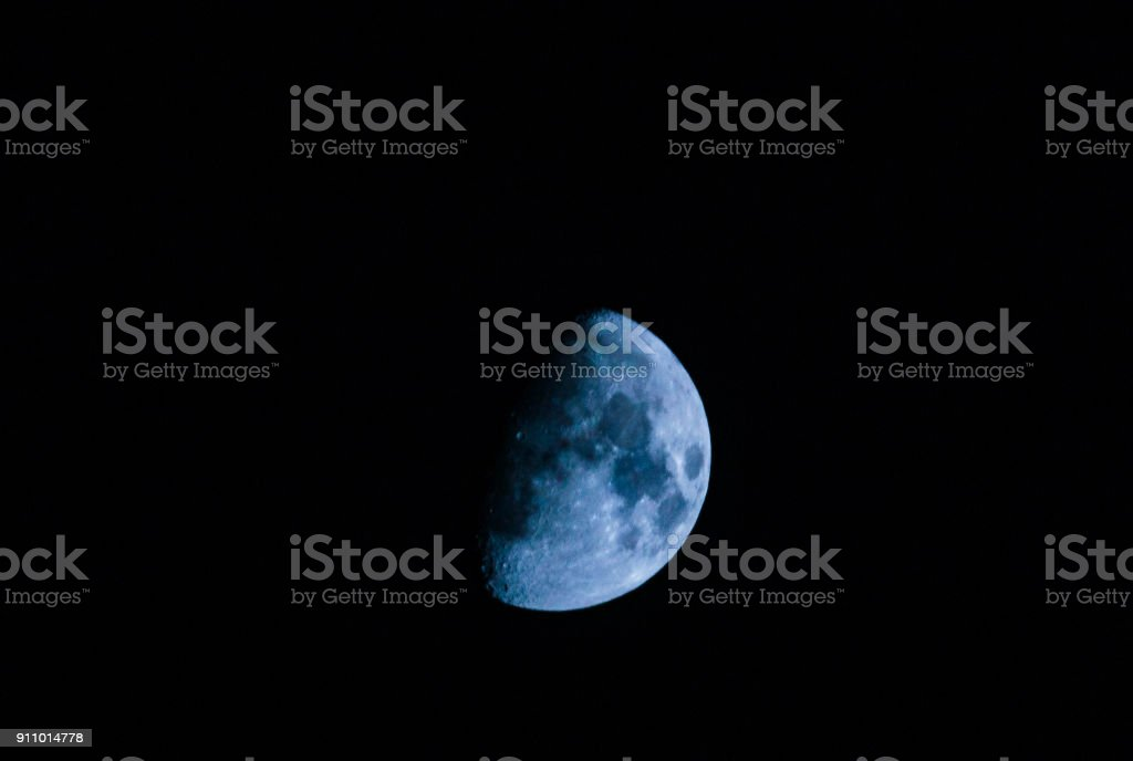 half blue moon stock photo